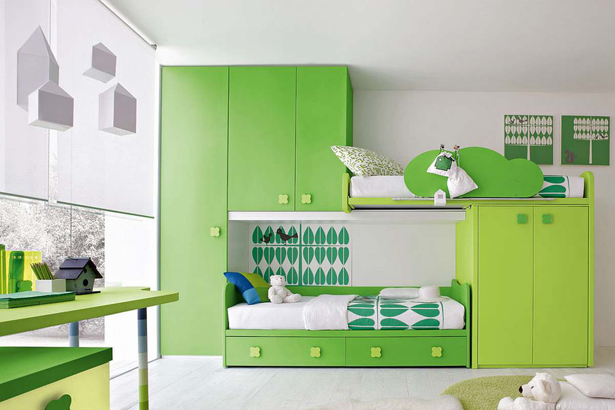 Image of: Green Modern Kids Bedroom Furniture