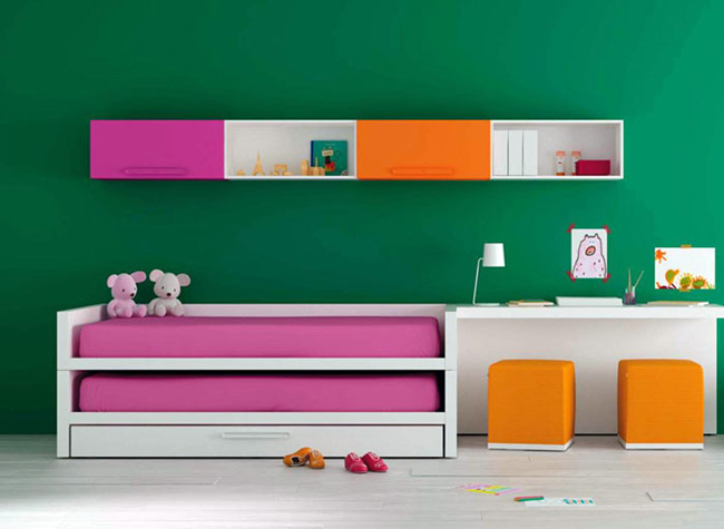 Image of: Green Wall Modern Kids Bedroom Furniture