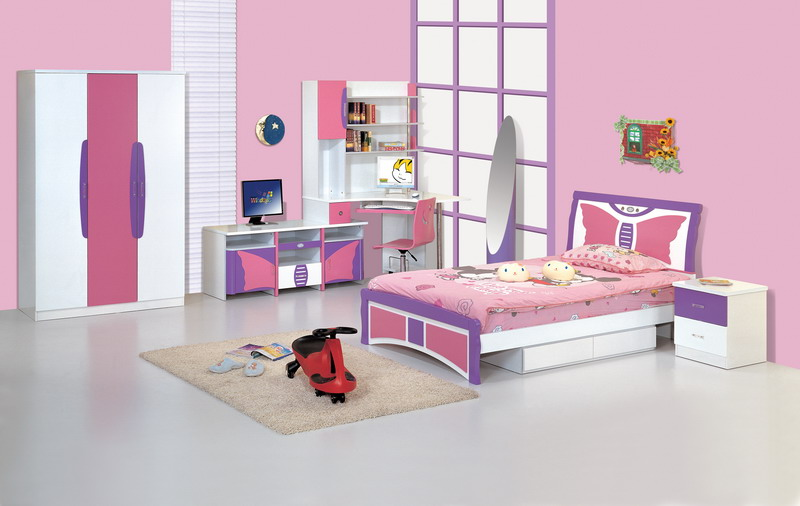 Image of: Pink Modern Kids Bedroom Furniture