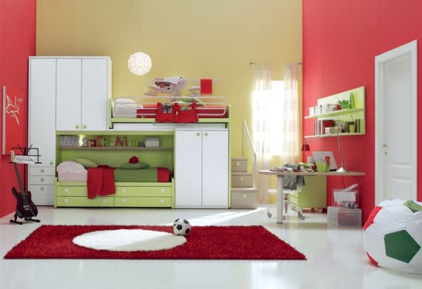 Image of: Red Modern Kids Bedroom Furniture