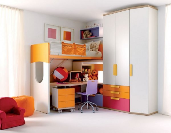 Image of: White Orange Modern Kids Bedroom Furniture