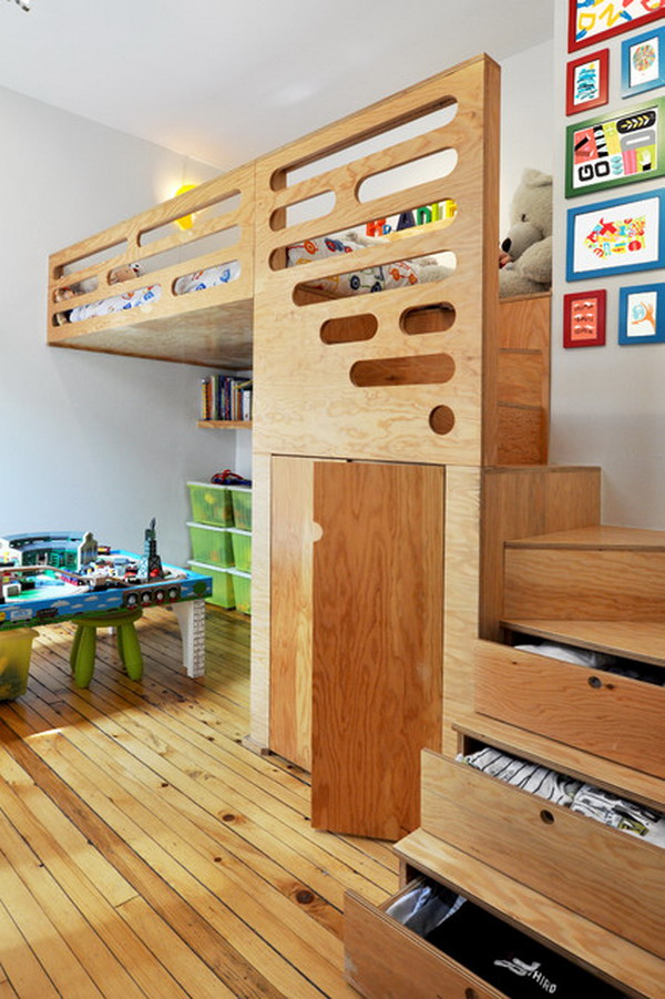 Image of: Amazing Bunk Bed with Stairs