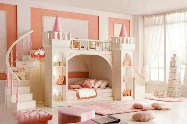 Image of: Beautiful Pincess Bunk Bed with Slide