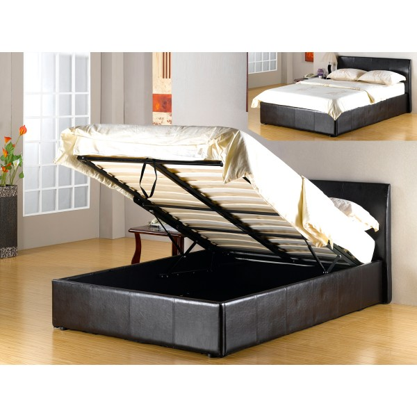 Image of: Black Faux Leather Storage Bed Frame