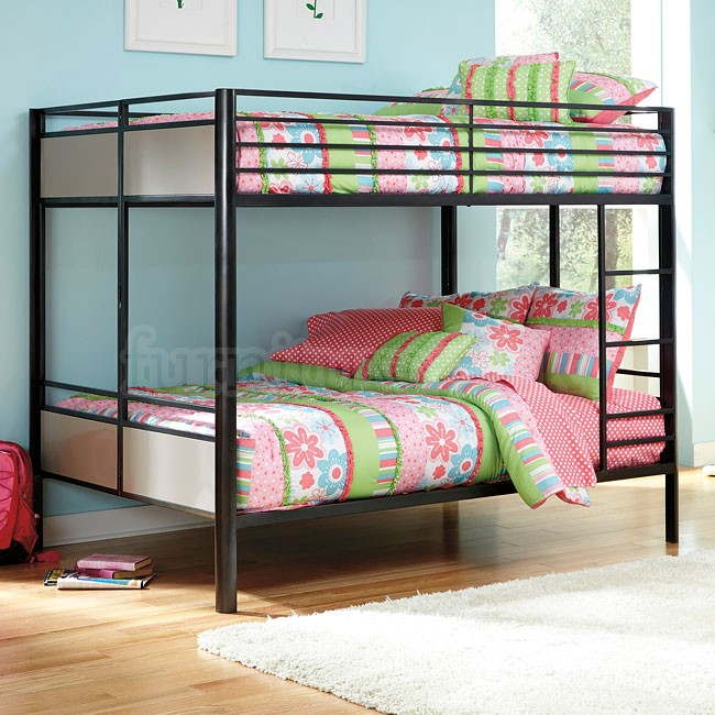Image of: Black metal bunk beds