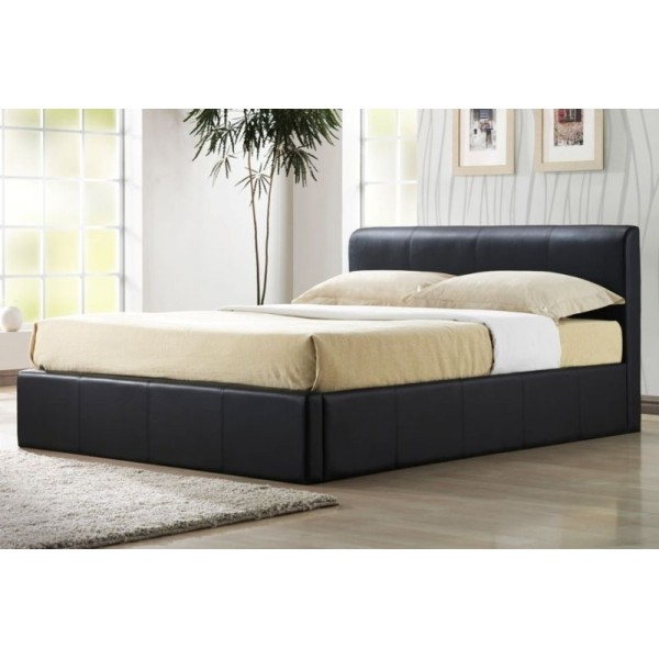 Image of: Black storage bed frame
