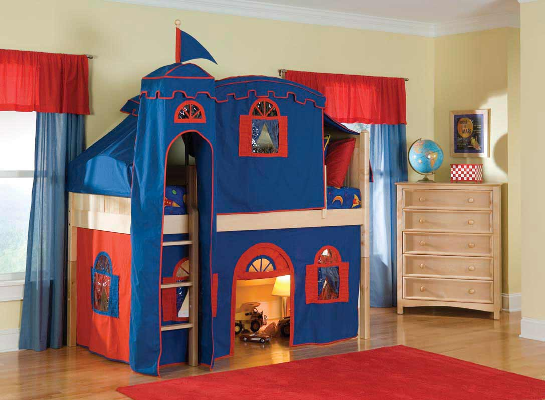 Bolton cottage loft castle bed tent for boys