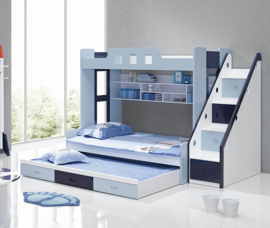 Image of: Bright Blue Bunk Bed with Stairs