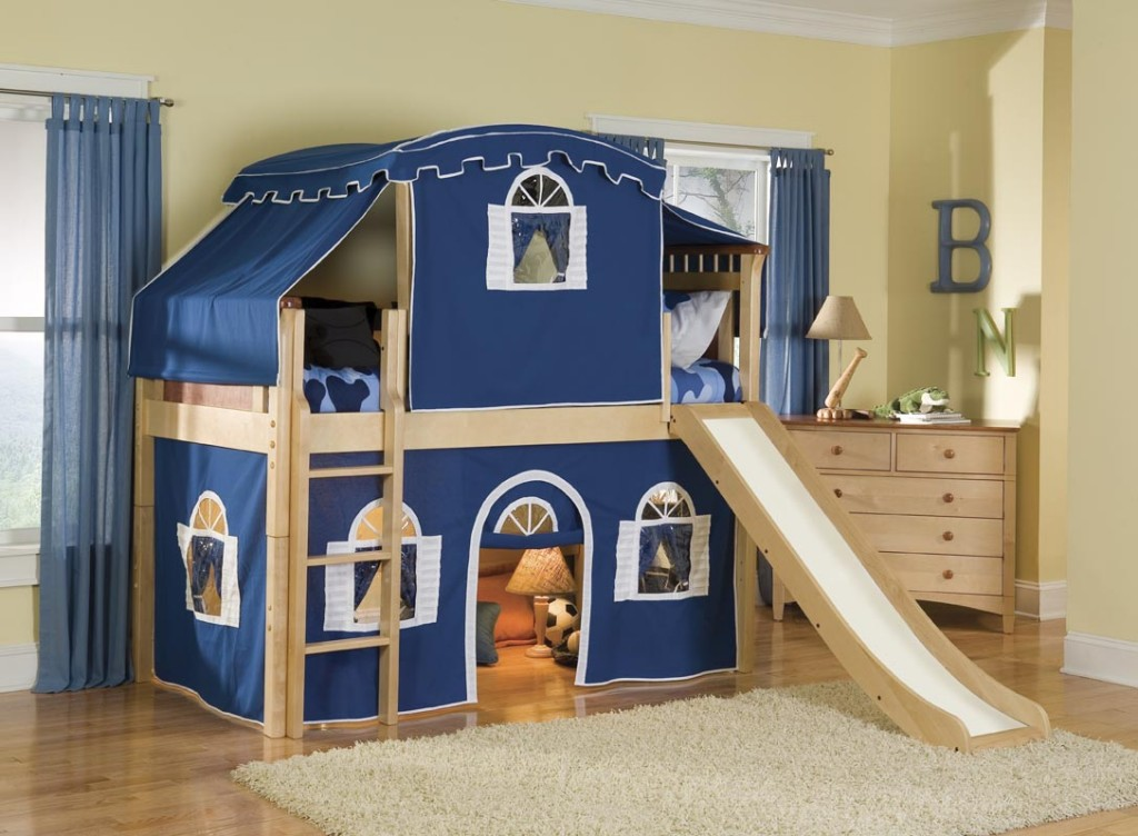 Image of: Bunk Bed with Slide And Desk
