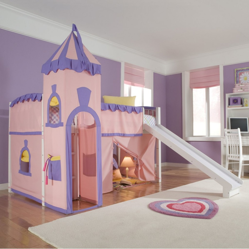 Image of: Children Pincess Bunk Bed with Slide