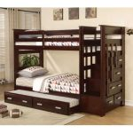 Espresso Twin Bunk Bed with Storage Stairway Drawers and Trundle