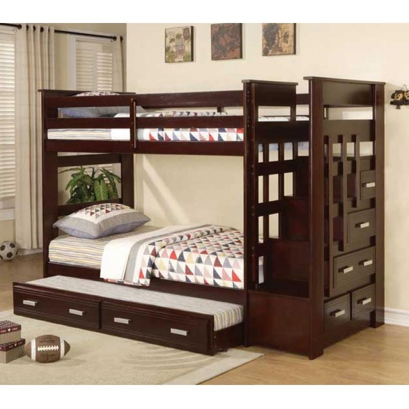 Image of: Espresso Twin Bunk Bed with Storage Stairway Drawers and Trundle