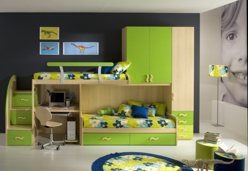 Image of: Green Double Loft Bunk Beds for Boy