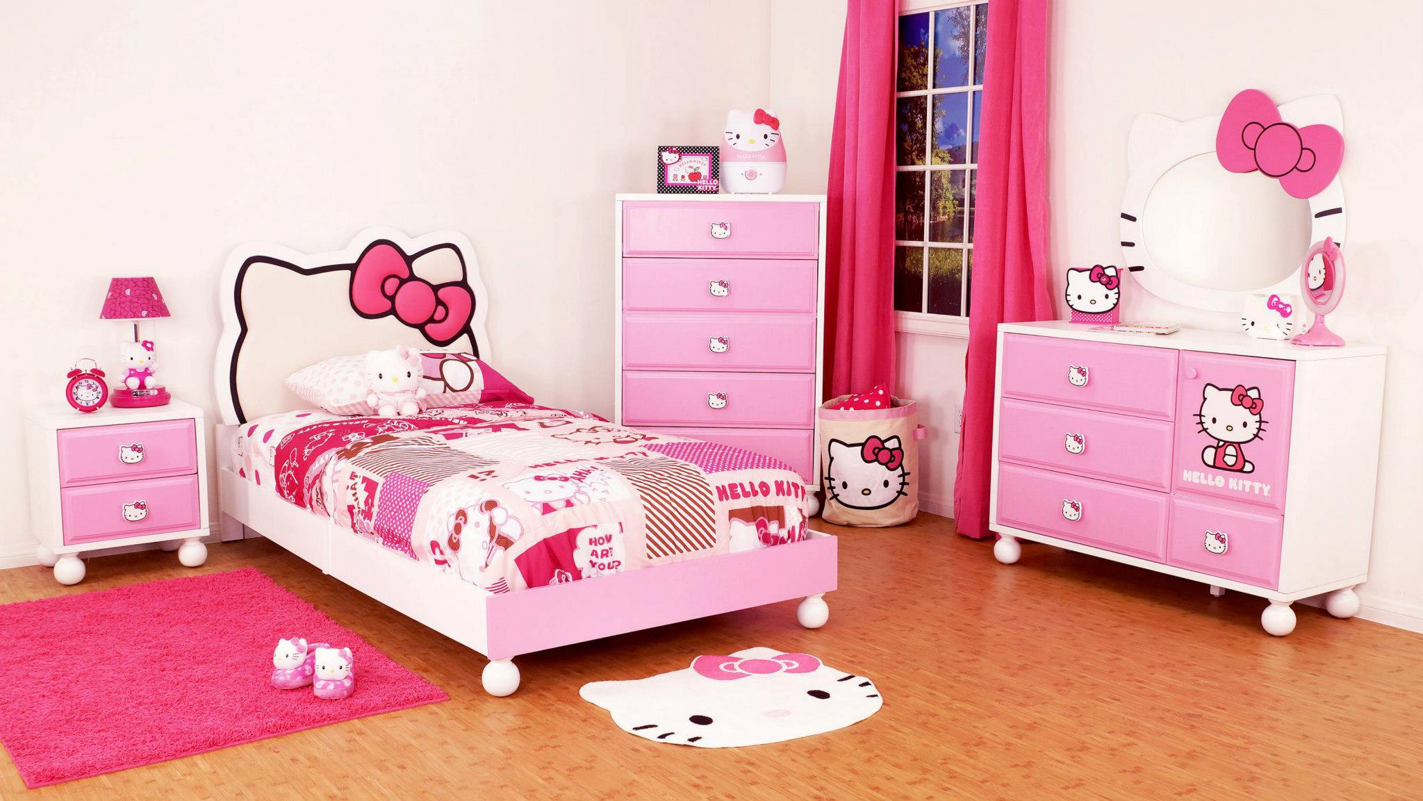 Image of: Hello Kitty Bedroom furniture Full Pink