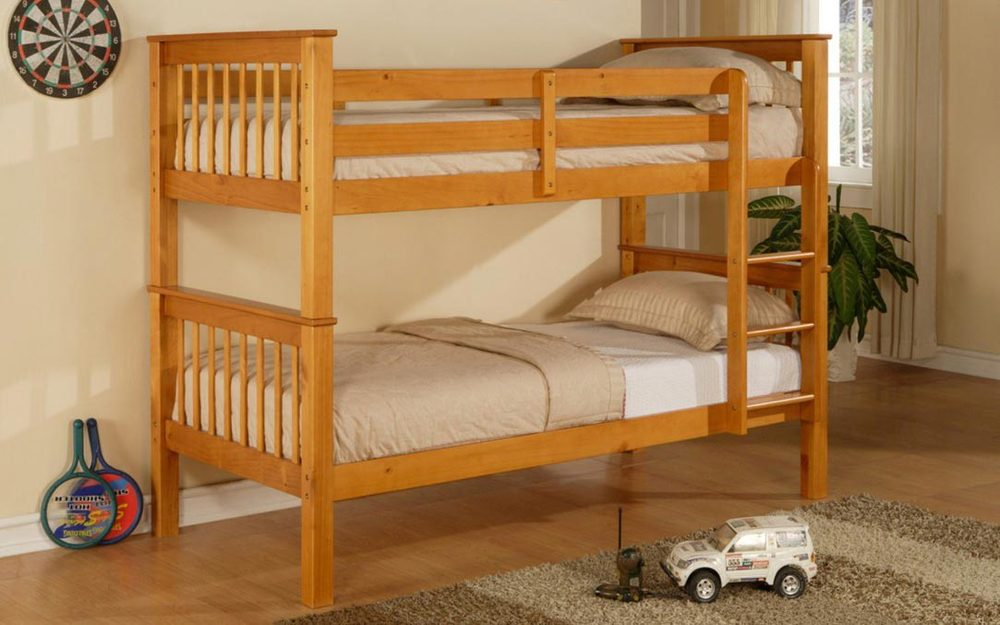 Image of: Honey Pine Wooden Bunk Beds