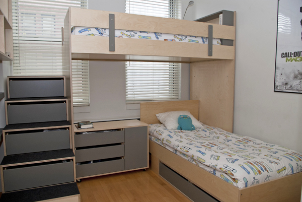 Image of: L Shaped bunk beds for small rooms