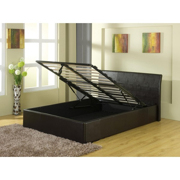 Image of: Leather storage bed frame