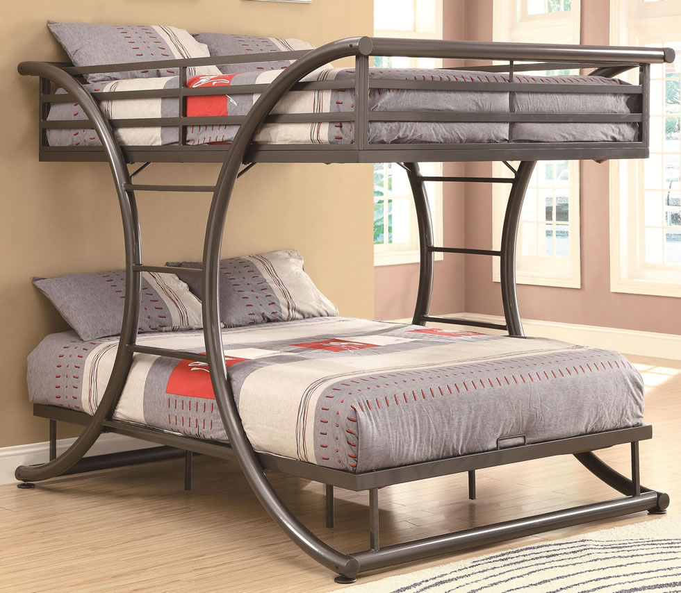 Image of: Metal bunk beds curved frame