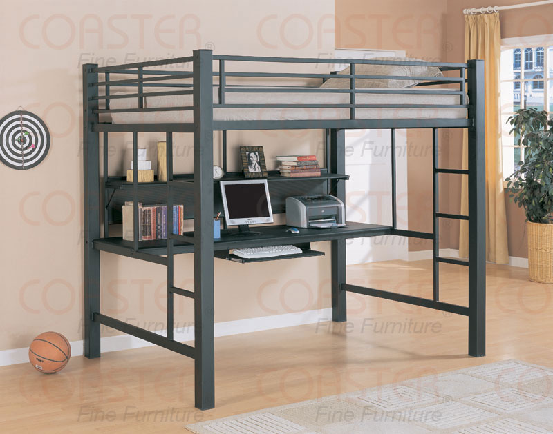 Metal bunk beds with desk