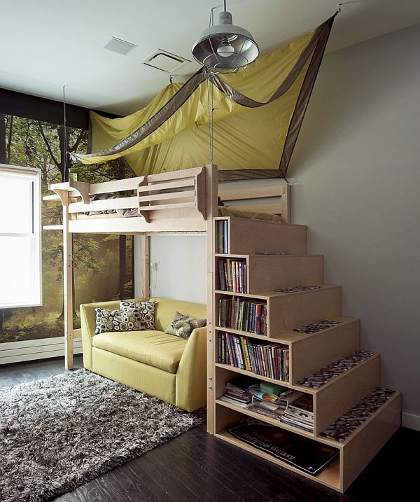 Image of: Modern Bunk Bed with Stairs