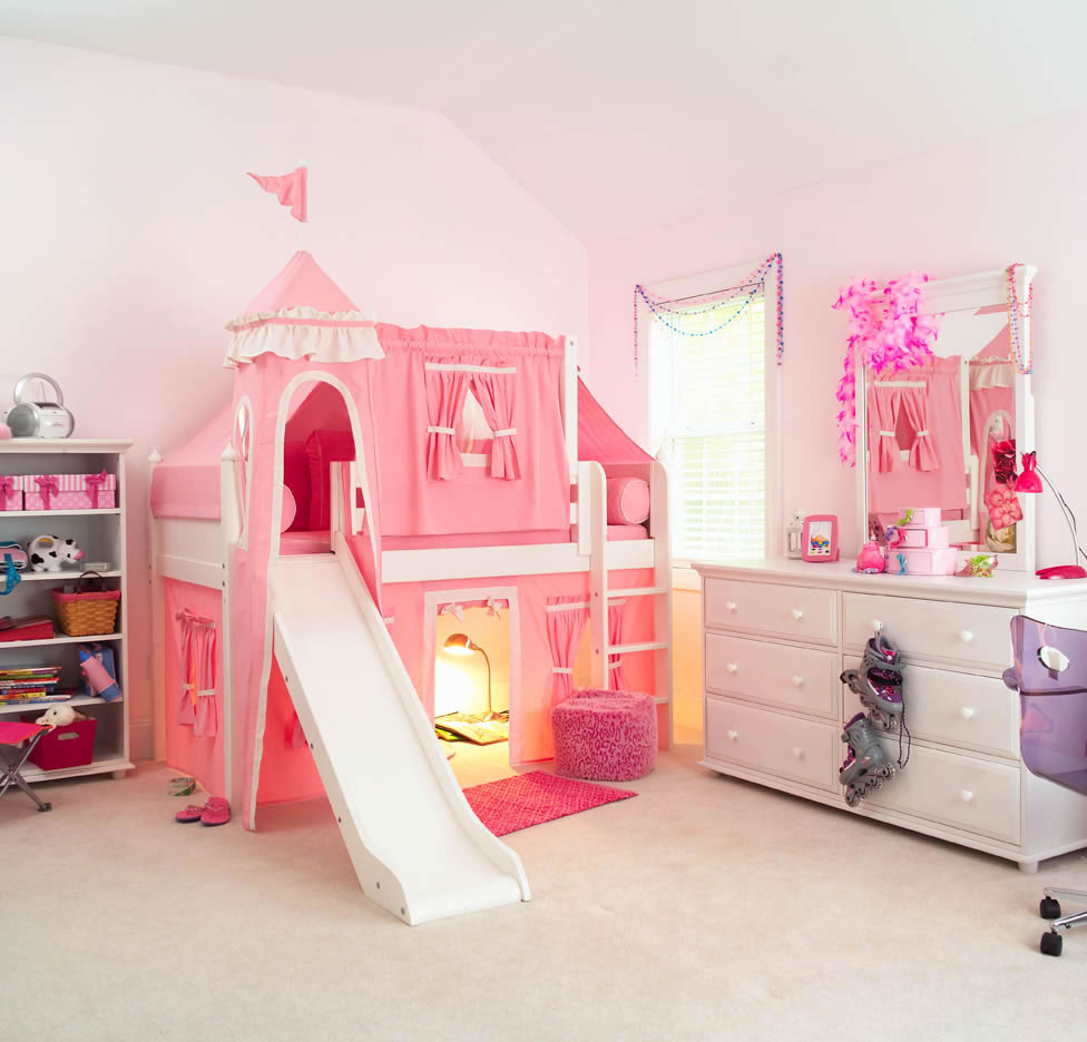 Image of: Pincess Bunk Bed with Slide