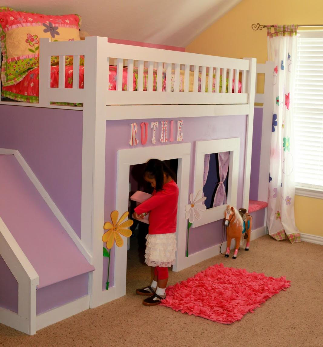 Image of: Pincess Bunk Bed with Stairs and Slide