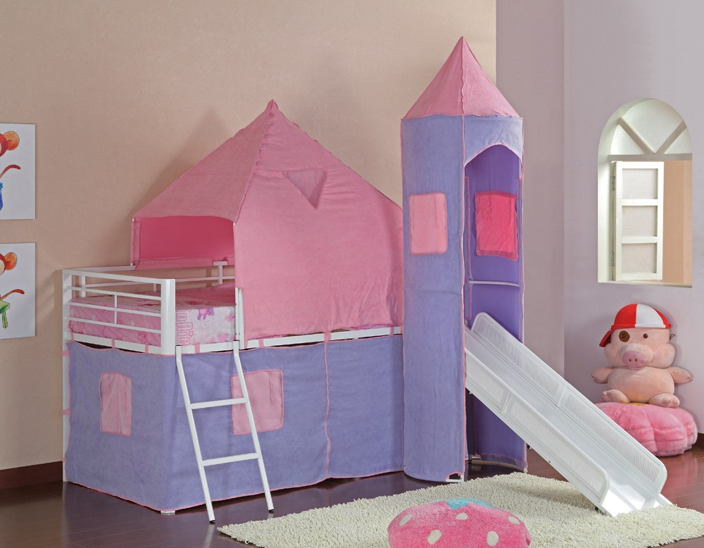 Image of: Pink Castle Bunk Bed with Slide