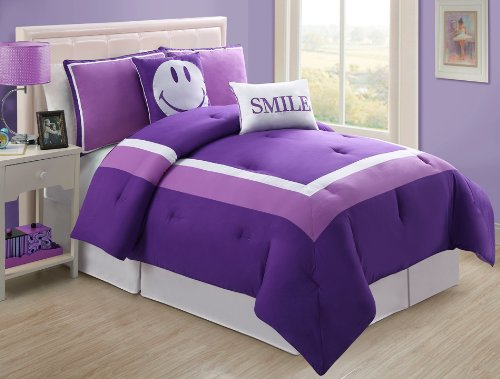 Purple and White Twin Bedding Sets for Girls