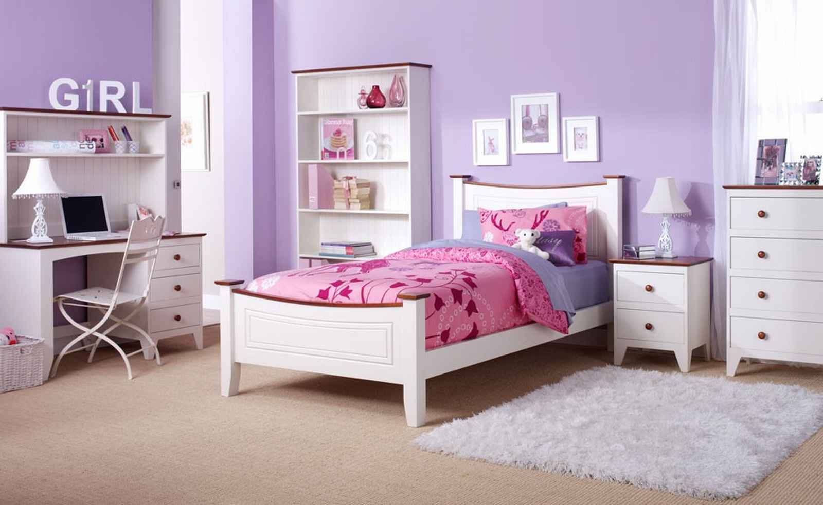 Image of: Purple kids bedroom furniture sets for girls