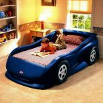 Race car shaped bed for boys