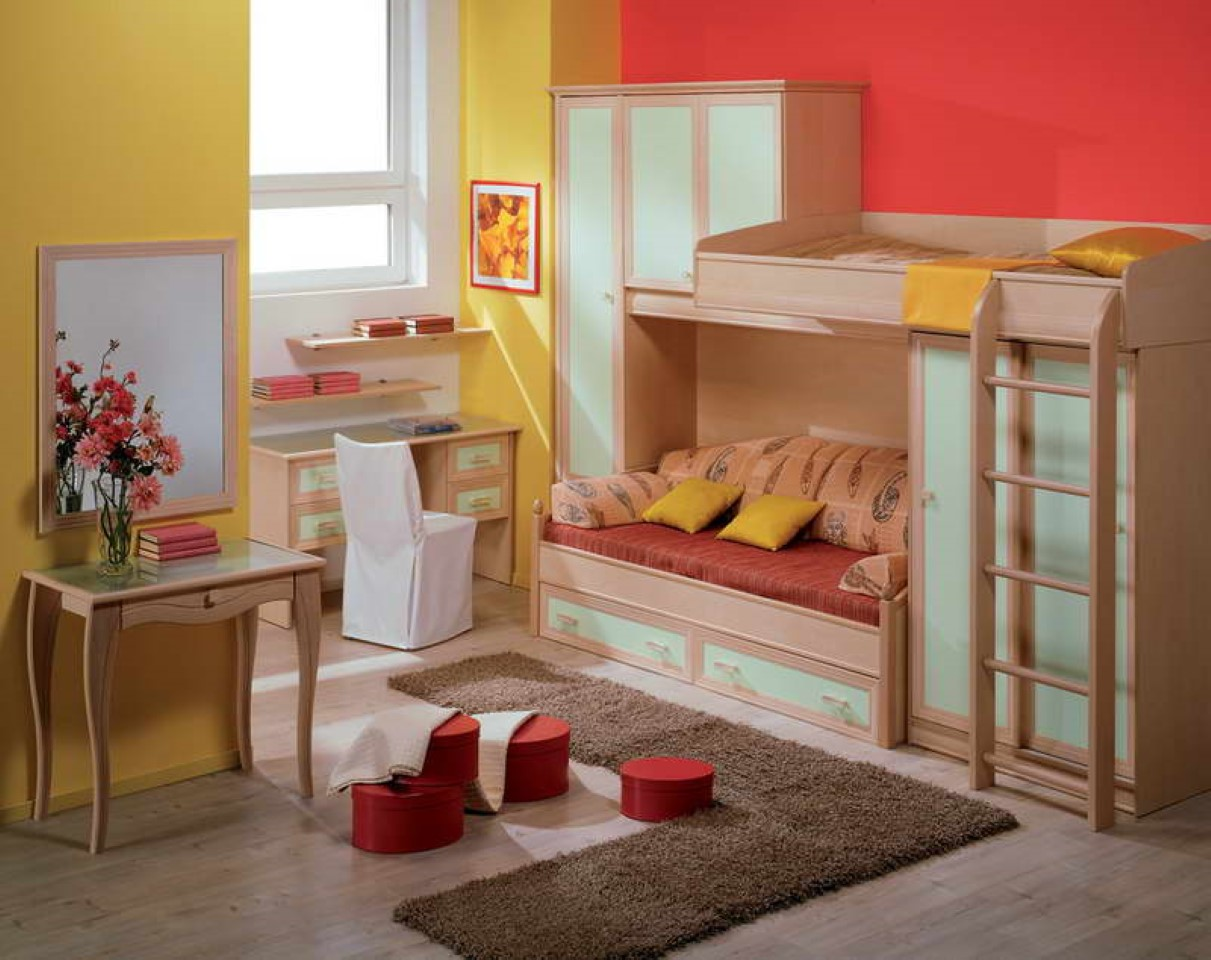 Image of: Red Yellow Wall with Wood Bed Frames