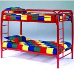 Red metal bunk beds
