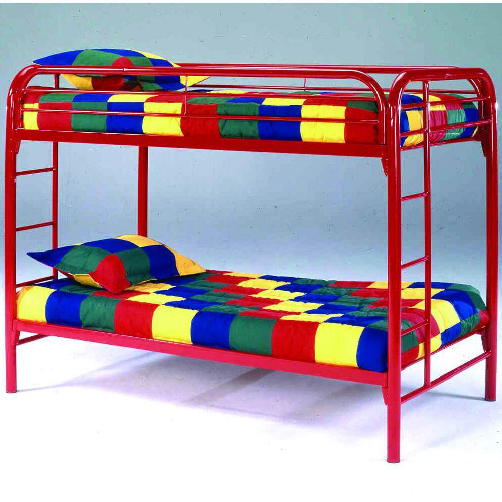 Image of: Red metal bunk beds