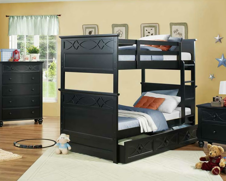 Image of: Sanibel Bunk Bed with Optional Trundle in Black or White