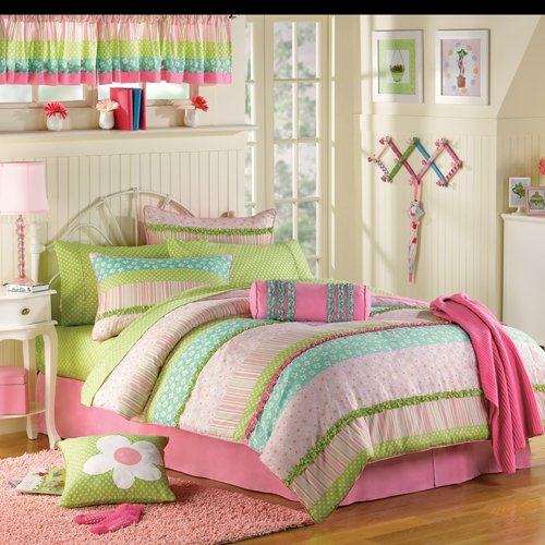 Image of: Twin Bedding Sets for Girls in Pink and Green Ruffles