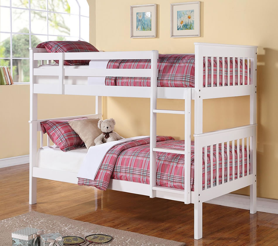 Image of: Twin bunk bed in white
