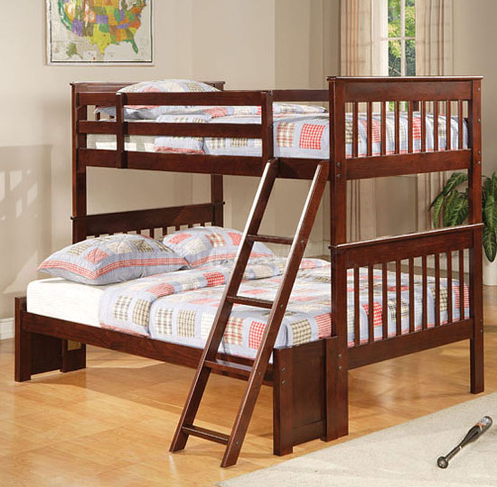 Twin bunk bed with desk