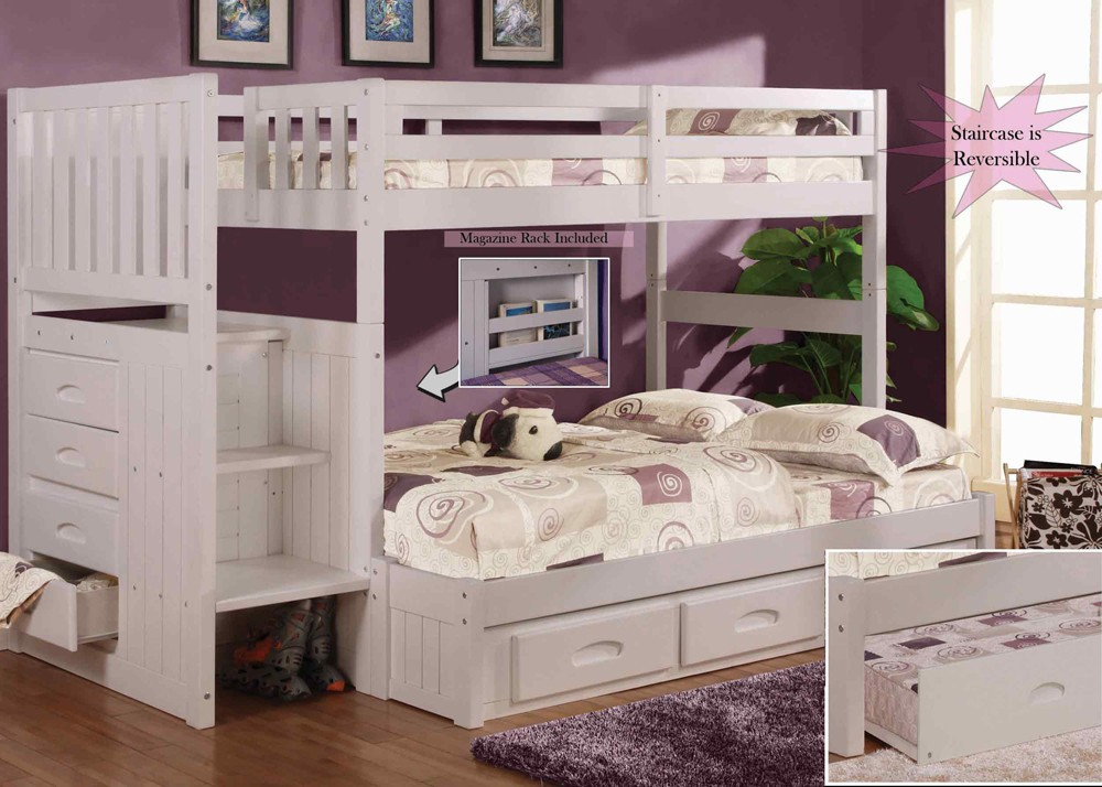 Image of: White Bunk Bed with Stairs