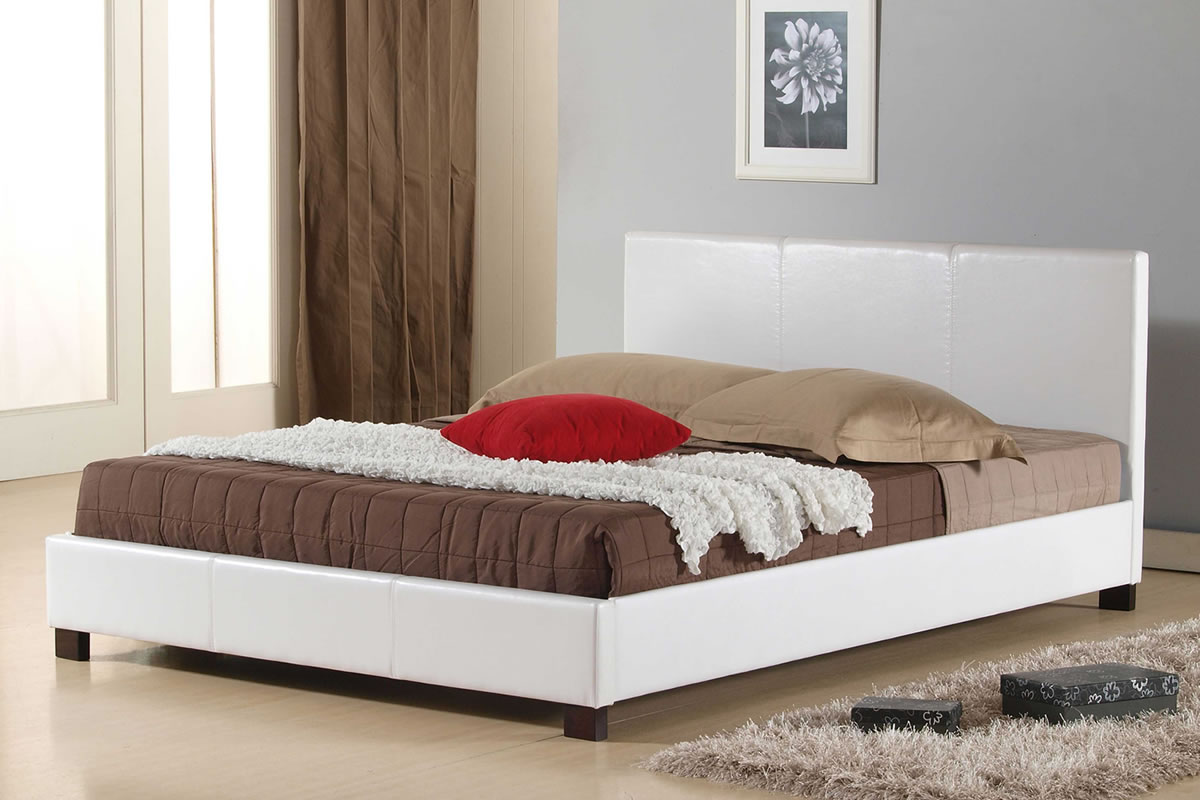 Image of: White PU Leather Queen Bed Frame
