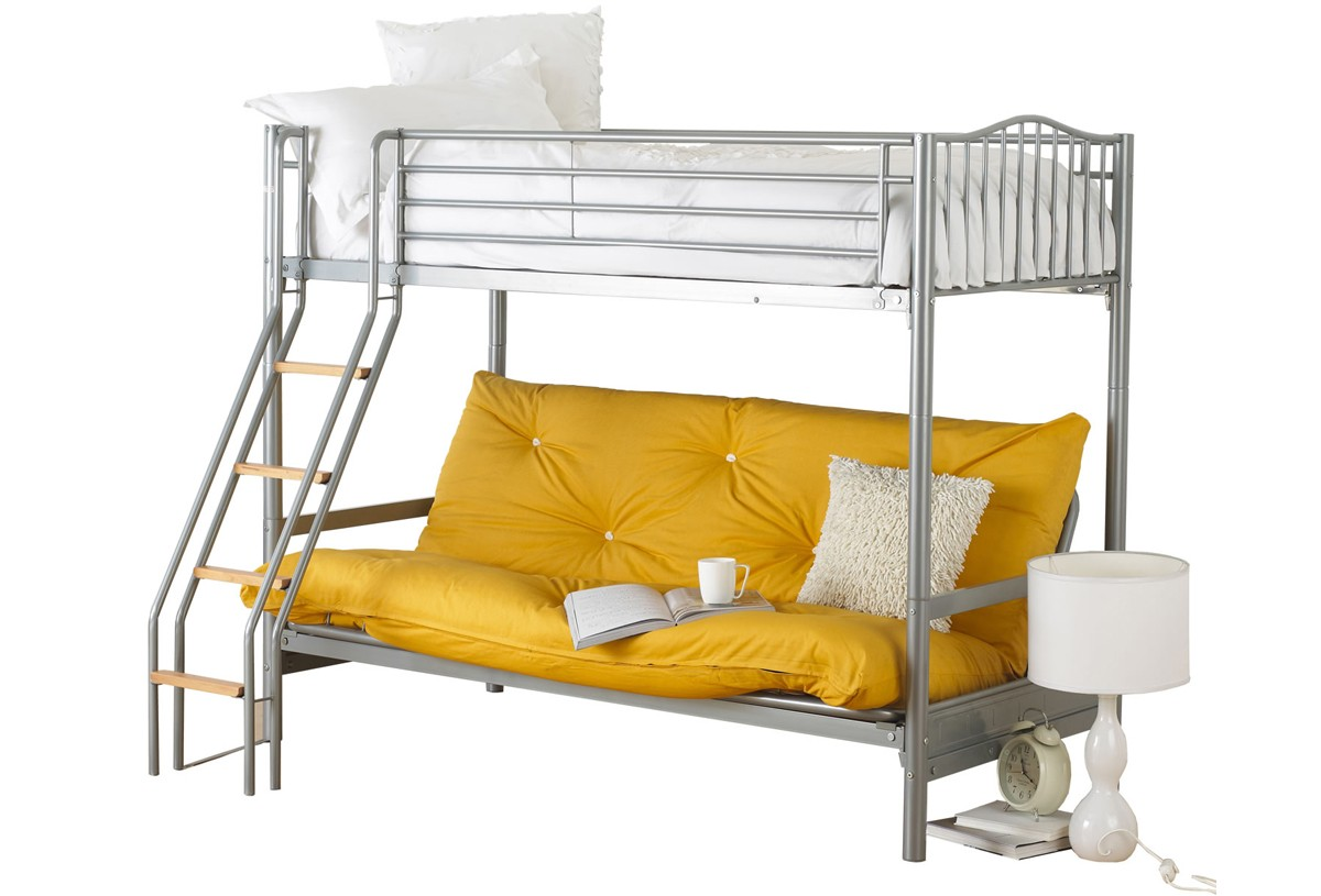 White and yellow sofa bunk bed