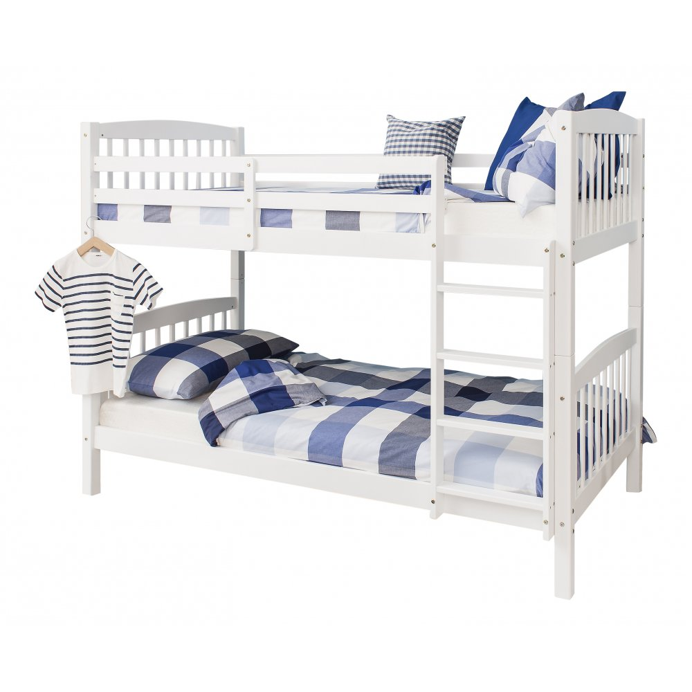 Image of: White single bunk bed