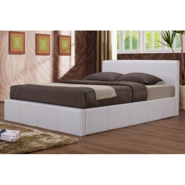 Image of: White storage bed frame