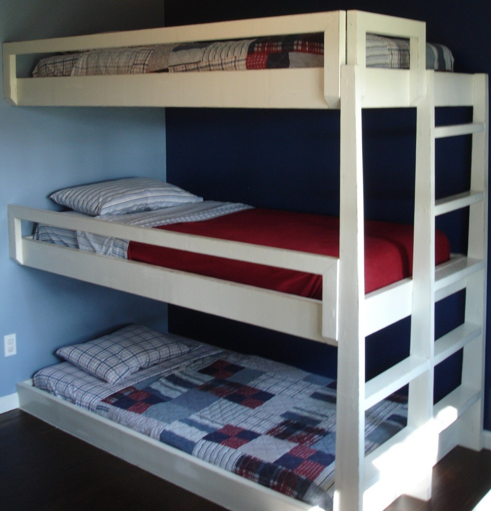 White triple bunk bed