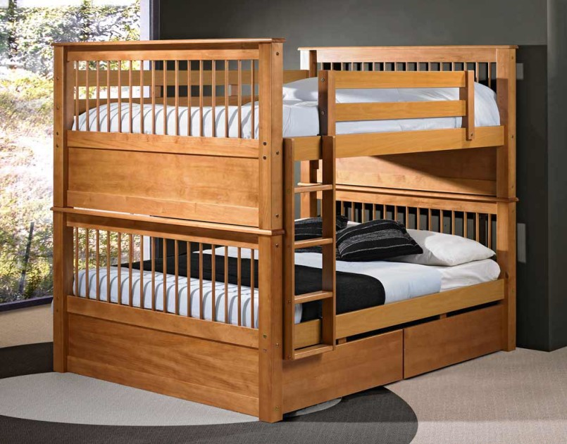 Wood bunk beds and drawers