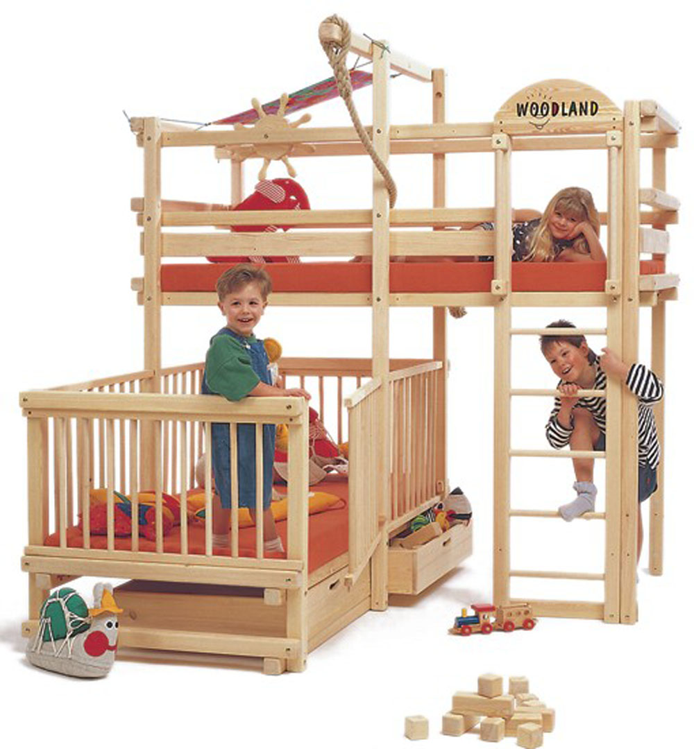 Wood bunk beds for kids