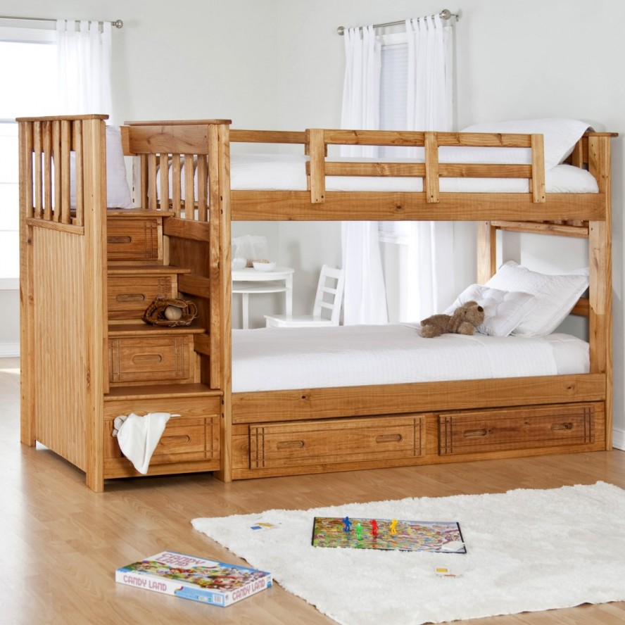 Image of: Wood bunk beds organizers