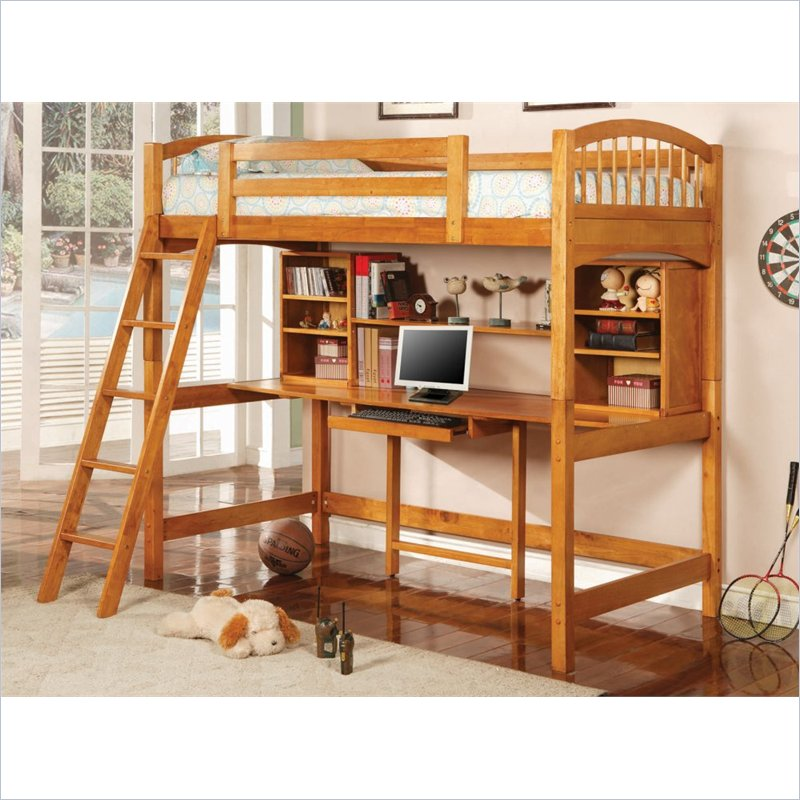 Image of: Wood bunk beds with stairs
