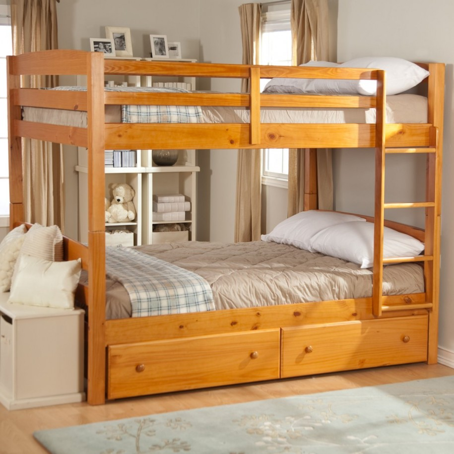 Image of: Wooden Bunk Beds with Drawers