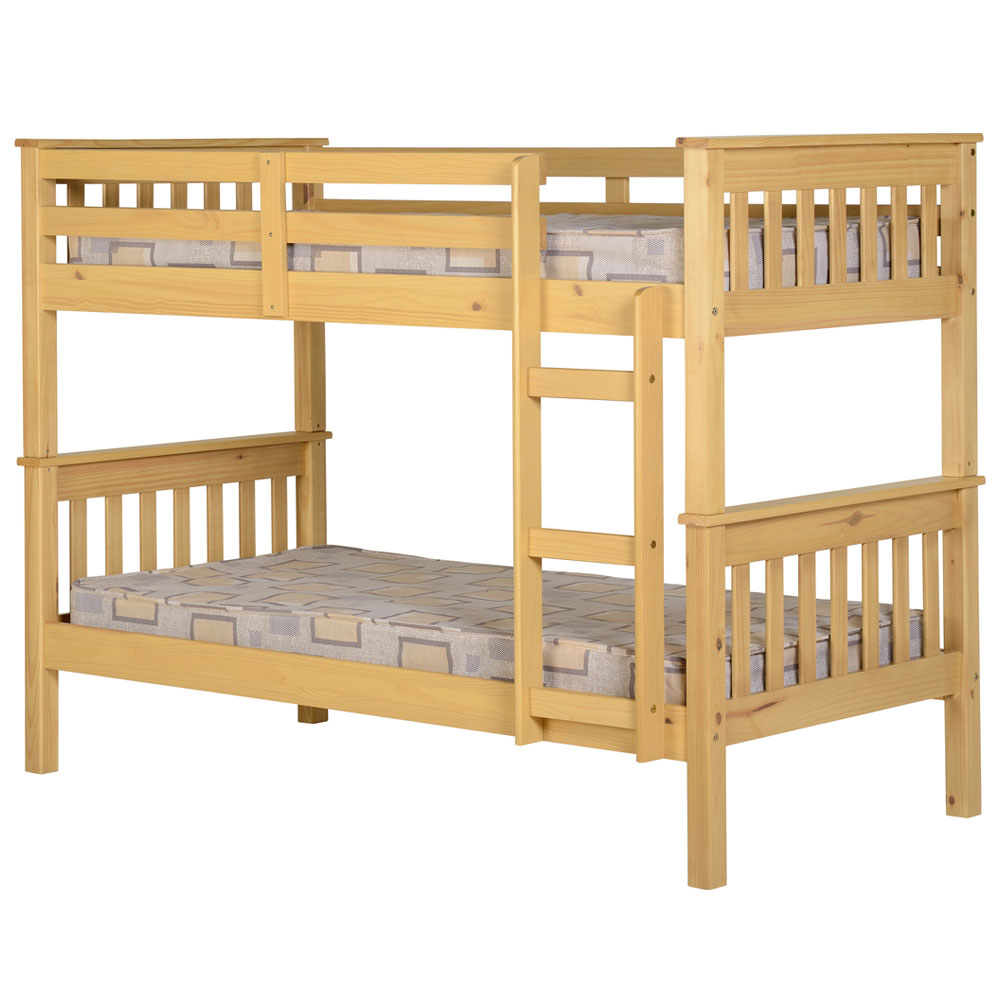 Image of: Wooden single bunk bed