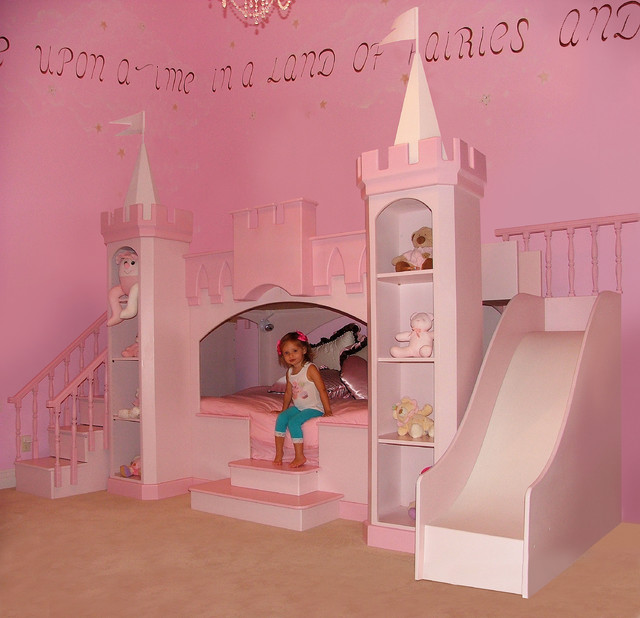 Image of: pink girl bunk beds
